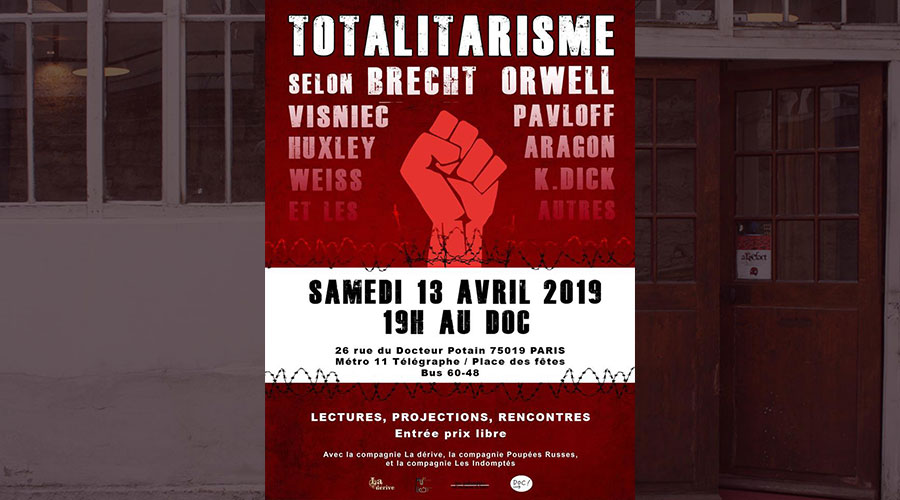 Maude Bouhenic, Mégane Kergoat, Charlotte Roulland, Louise Ternois (promotions 2011, 2013 et 2016) dans Le Totalitarisme et les autres, création au Doc le 13 avril